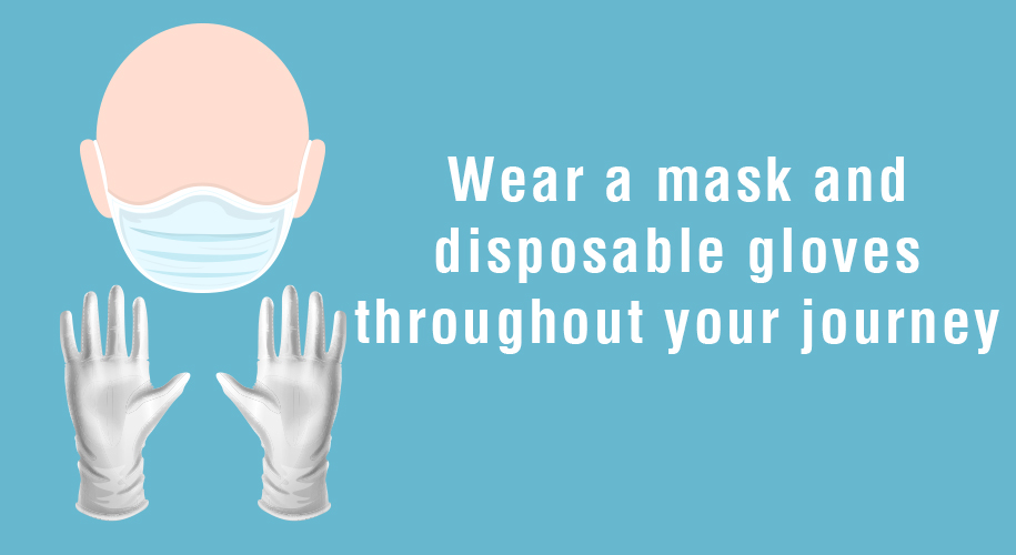 Wear a mask and disposable gloves throughout your journey